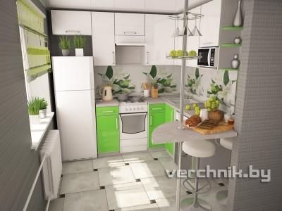угловая кухня зеленый белый пластик