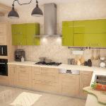 прямая кухня с рамочными фасадами