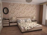 двуспальная кровать с тумбами