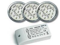 омплект LED светильников (3шт теплый свет) круглые хром