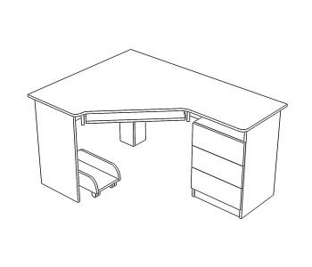стол угловой с тумбой