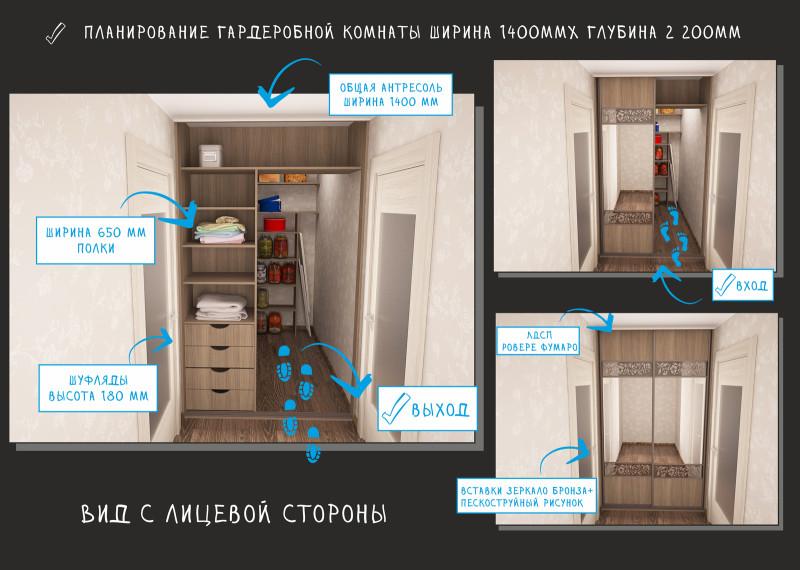 гардероб Г-образной планировки