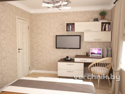 стол и комод в спальне