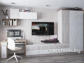 Стенка на всю стену с большим шкафом и столом для телевизора