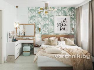 спальня с двухспальной кроватью и зеркалом