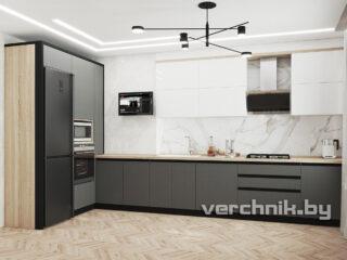 Кухня большая черно-белая