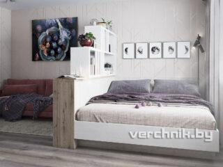Двухспальная кровать с открытыми полками