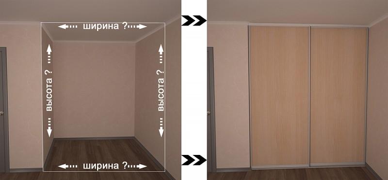 замеры нишы под двери-купе