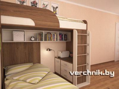 двухъярусная кровать с комодом