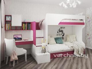 Детская для девочек двухярусная кровать и стол для учебы