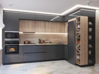 Угловые кухни с древесным элементом