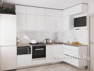 Угловые кухни белого цвета